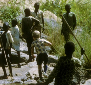 Picnic time by the river near Yaounde, Cameroon, 1971