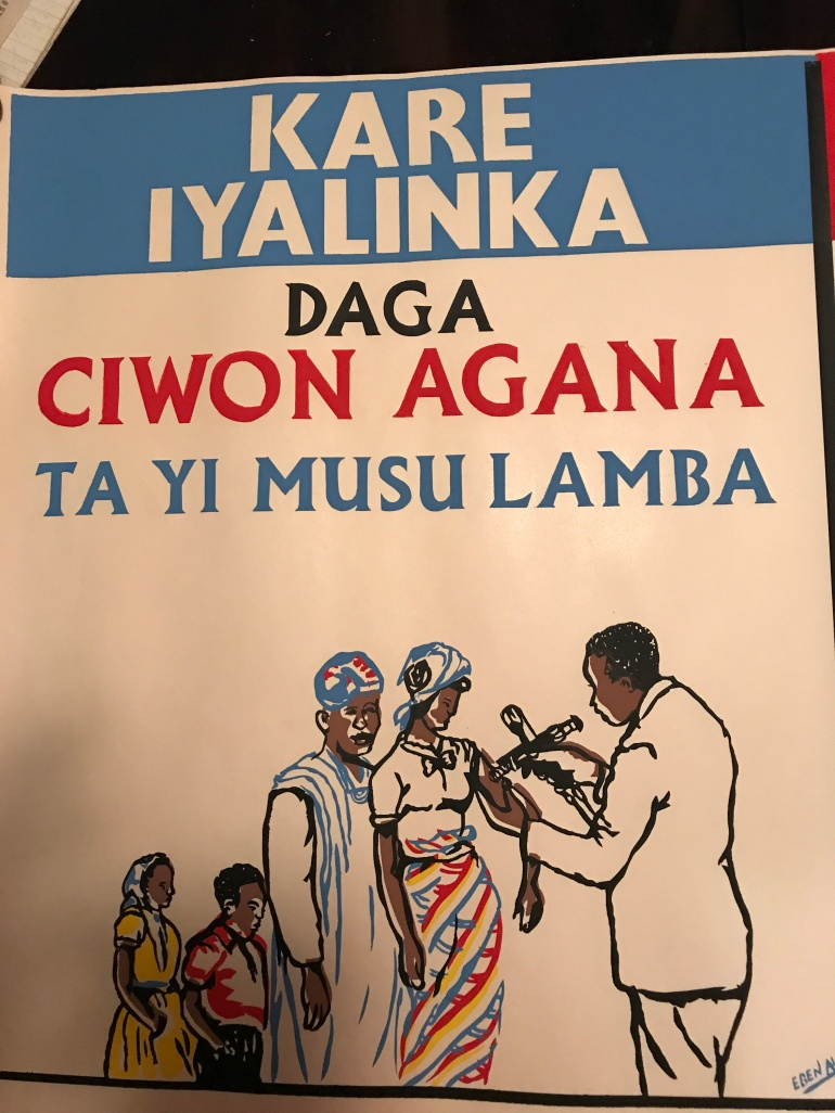 smallpox vaccination poster in Hausa language.
