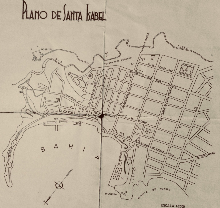 street map of the one-square-mile capital of Equatorial Guinea 1968