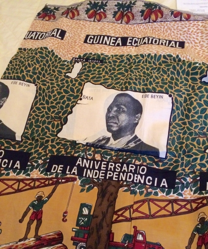 fabric depicting dictator Macias Nguema and celebrating the anniversary of independence of Equatorial Guinea