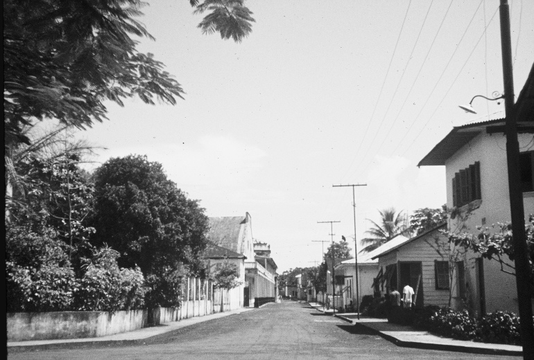 Black and white photo of eerily empty, silent street in the capital of Equatorial Guinea, 1970.