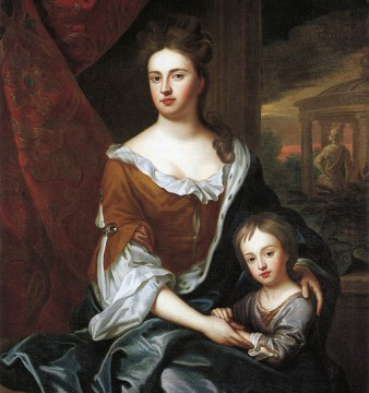 painting of Queen Anne with her son William. He would contract smallpox hours after his eleventh birthday and die soon afterwards,.