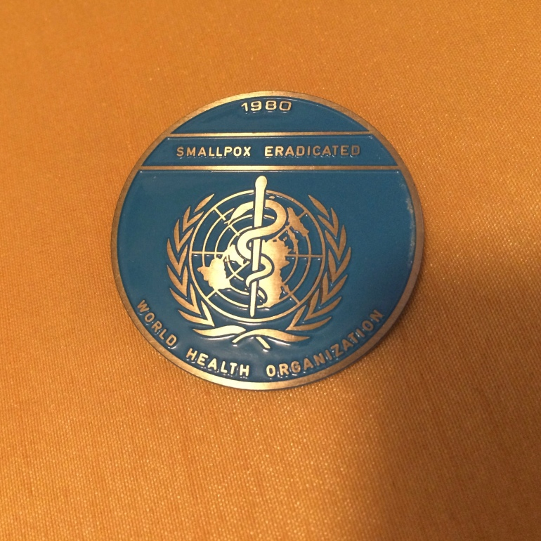 World Health Organization smallpox eradication medallion,